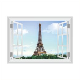 803657e60 3D False Window Wall Decor Iron Tower Wall Stickers Drawing Room Bedroom  Home Decor DIY Scenery Poster Mural Wallpaper Wall Decals