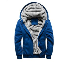 winter warm hoodie zip up UK - Zip Up Hoodies Sweatshirts Men Winter Warm Thick Plus Velvet Hooded Jacket Parkas Casual Solid Streetwear Mens Cardigan Coat