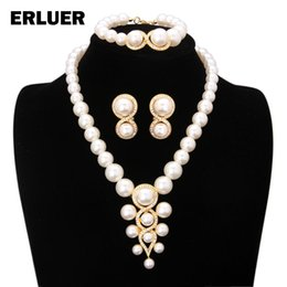 necklace crystal jewelry Australia - Gold Color African Beads Jewelry Sets Luxury Wedding Bridal Crystal Simulated-pearl Necklace Earrings Bracelets Set For Women