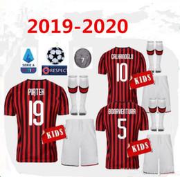 Discount milan kids soccer jersey - 2019 2020 AC Milan PIATEK SUSO kids Soccer Jersey full kits 19 20 CALHANOGLU HIGUAIN PAQUETA ROMAGNOL football shirt kit
