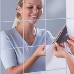 Mosaic Wall Stickers NZ - 6pcs Makeup Mirror Wall Stickers Bathroom Mirror Silver Cosmetics Surface Mosaic Square Self-adhesive 3D Wall Paper 15x15