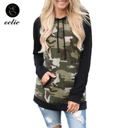 Discount kangaroo pocket - Color Block Hoodie Poleron Mujer 2019 Harajuku Camo Hoodie Women Camouflage Sweatshirt Kangaroo Pocket Spliced Drawstrin