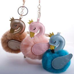 Discount swan bag wholesale - New Style Swan Shaped Car Keychain Bag Keyring Hair Ball Keychains Pendant Fashion Wing Crown Flamingo Handbag Accessory