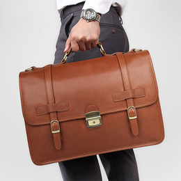 genuine leather notebook NZ - MAHEU Leather Briefcase Mans Male Genuine Leather Business Bag Brown Briefcase Bag For Laptop Notebooks