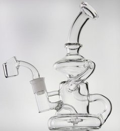 Big recycler Bongs online shopping - 8 quot glass recycler Elvis Klein glass bong with quartz banger or big bowl oil rig dab water pipe hookahs mm joint