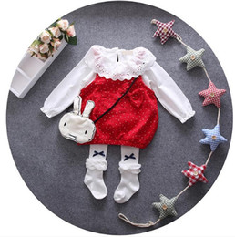 infant lace shirts Australia - Baby Girl Clothing Set Infant Baby clothes Set Lace T-shirt + Dress Girls Outfits Set Autumn kids clothes
