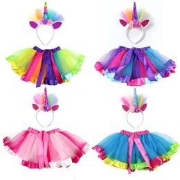 $enCountryForm.capitalKeyWord Australia - 2019 summer children Rainbow tutu girls skirts + unicorn handhead kids sets for dance skirt princess party korean Kids Clothes