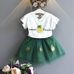 Korea style clothing online shopping - 2019 Korea Children clothing Summer Girls Outfits Sequins Pineapple Top tulle skirt set Summer New style