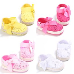 Wholesale Spring Autumn Baby Girls Shoes Infant Toddler Princess Solid Prewalkers Anti skid Big Bow Babe Newborn Shoe