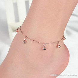 simple silver foot chain NZ - Fashion Jewelry Bell Pendants Silver or Gold colour Metal Plated Bead Chain for Women Foot Anklet Simple Design Beutiful Gift