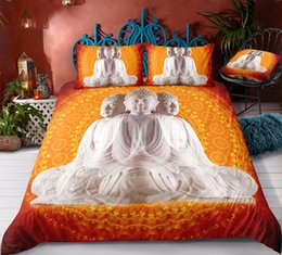 PurPle green bedding sets online shopping - Thumbedding Dropship White Faceted Buddha Bedding Sets with Buddha Light Twin Full Queen King Single Double D Duvet Cover with Pillowcase