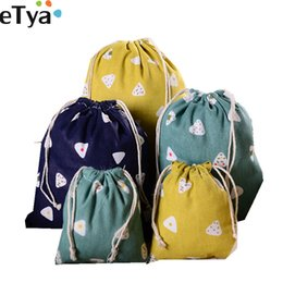 Small Shoes For Woman Australia - eTya Cotton Linen Drawstring Bags for Women Cute Travel Small Cloth Cosmetic Shoes Makeup Toiletry Wash Bag Organizer Pocket
