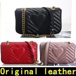 Marmont sac 443497 Sacs à main de luxe de haute qualité Designer Handbags Original en peau de mouton souple en cuir véritable femmes Sacs à bandoulière Venez avec BOX en Solde