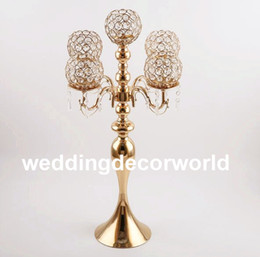Decor Parties Australia - 5 arm Crystal Candle Holder Wedding Candelabra Centerpieces Center Table Candlesticks Party Decor Lantern stand Silver Gold home decor801