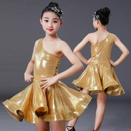 latin ballroom costumes for women UK - Latin Dresses Cosplay Costume For Baby Girls Stage Performance Ballroom Dance Wear One Shoulder Light Satin Competition 2PCs Set