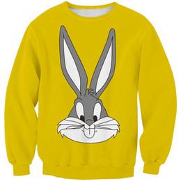 Cartoon Rabbit Hoodies Australia - Women Sweatshirt Cartoon Rabbit Bunny Yellow 3D Printed Girl Free Size Stretchy Casual Hoodies Lady Long Sleeves Tops Sweatshirts (RSws0280)
