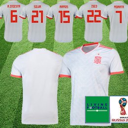 2a1cdf031 Spain Thailand home white Soccer Jersey 2018 world cup Spain home soccer  jersey  22 ISCO  20 ASENSIO  15 RAMOS Football Cheap and fine