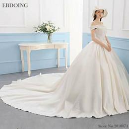 $enCountryForm.capitalKeyWord NZ - EBDOING Luxurious Ball Gown Wedding Dress Boat Neck Neckline Short Sleeves Chapel Train Plus Size Lace Up Custom Made Bridal Gown