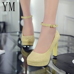 Platform thick high heel gold shoes online shopping - Designer Dress Shoes Woman Pumps Autumn Ankle Strap Platform Thick Heel ol Patent leather High heeled Female trend of Ultra High Heels