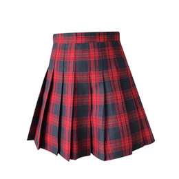 $enCountryForm.capitalKeyWord UK - Japanese School Plaid Pleated Mini Skirt Korean Students Class Uniforms Clothing For Girl Summer Red Pleated Skirt Y19043002