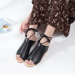Roman Style Sandals Shoes Flats NZ - Female Open Toe Ankle Cross Strap Flats Lace-up Shoes Fashion Summer Women's Roman Style Non-slip Sandal