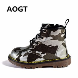 Purple Martin Boots Australia - Aogt 2019 Children Boots Boys Girls Pu Leather Waterproof Martin Boots Fashion Ankle Boys Baby Boots Camouflage Kids Boy Shoes Y19051303