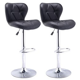$enCountryForm.capitalKeyWord NZ - Set of 2 Bar Stools Leather Modern Hydraulic Swivel Dinning Chair Barstool Black