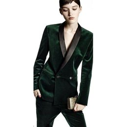 Women Wearing Double Breasted Suit Australia - Dark green Women Business Office Suits Double breasted Formal Work suits 2 Piece sets Female Tuxedos Uniform Office Work wear