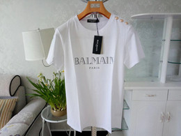Silver t ShirtS online shopping - Balmain Mens Designer T Shirts Pink Yellow White Black Red Men Women Designer T Shirts Balmain T Shirt Size S XXL