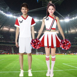 d763c11f Adults Stage Wear Performance Cheerleading Costumes Dance School Uniform  Women Dress Men Clothing Set Unisex Cheerleader Cloth C18122701