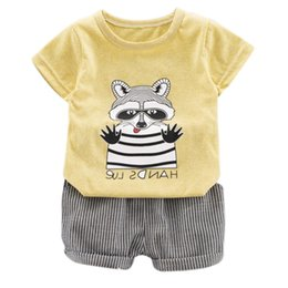 boy cat pant Australia - Newborn Baby Boy Clothes Set Cartoon Cat T-shirt Tops Short Pants Outfits Set Clothes 2Pcs For 6M-4T