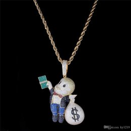 $enCountryForm.capitalKeyWord Australia - Dollar Boy Money Bag Pendants Hiphop Jewelry Men Hip Hop Necklace 18K Gold Plated Pave Micro CZ Brand Jewelry Ice Out Fashion Necklace