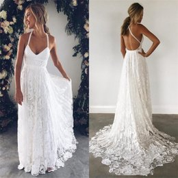 $enCountryForm.capitalKeyWord Australia - Cheap Aline Lace Wedding Dresses Halter with Sweep Cross Back Wedding Gowns Bridal Dresses Custom Made