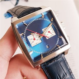 Wholesale Classic Men Quartz Movement Square Transparent Back Leather Watches mm Chronograph Men Wristwatches