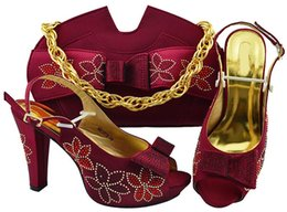 5fc0efb35b3b8 Hot sale wine women pumps match handbag set with rhinestone and bowtie  style african shoes and bag for party dress MM1078,heel 11.5CM