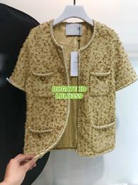 Tweed Suits Blazers Australia - Women Tweed Crew Neck Blazer Tops With Silk Hidden Breasted Coat Girls The Top Quality Tweed Short Sleeve Blazer Runway Coat Suits 2019