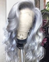 gray human hair wigs 2020 - Grey Lace Front Human Hair Wigs For Women Brazilian Body Wave Virgin Hair Full Lace Gray Human Hair Wigs With Bleached K
