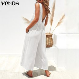 Wholesale black white womens romper for sale – dress VONDA Summer Romper Womens Jumpsuits Sexy Sleeveless Playsuit Holiday Overalls Casual Ankle Length Wide Leg Pants Plus Size