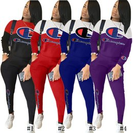 $enCountryForm.capitalKeyWord Australia - Womens Two Piece Pants Champion Embroidery Letters Brand Tracksuit Long Sleeve Pullover Hoodie with Leggings Patchwork Casual Outfits C8503