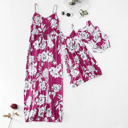 $enCountryForm.capitalKeyWord UK - Mommy And Me Flowers Long Dresses 2019 Family Matching Clothes Mom And Daughter Dress X Rompers Mother And Baby Girl Family Look