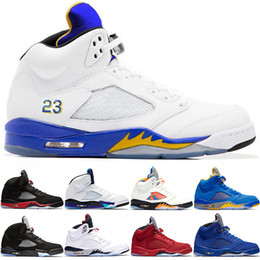 68d4d263c609 5s Men Basketball Shoes 5 Laney Blue Bred White Cement Blue Red Suede OG  Metallic Gold Top Athletic Trainer Sport Sneaker Size 8-13