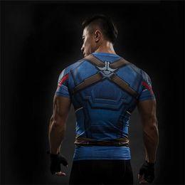 $enCountryForm.capitalKeyWord Australia - Free Shipping Short Sleeve 3D T Shirt Men T-Shirt Male Crossfit Tee Captain America t shirt Men Fitness Compression Shirt 4XL J19