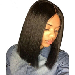 ombre full lace wigs Australia - Short bob straight 100% Brizilian human hair wigs for black women lace front wigs with baby hair 150% density natural color