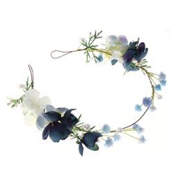 Crown theme party online shopping - Blue Theme Wedding Party Hair Accessories Girl Flower Wreath Crown Bride Bridesmaid Hairband Headdress Adjustable Floral Garland