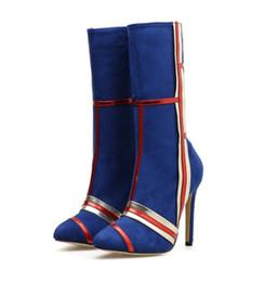 $enCountryForm.capitalKeyWord Australia - Sexy mixed color mid calf high heel designer boots fashion luxury designer women shoes size 35 to 40