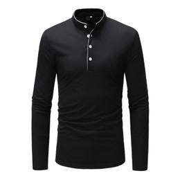 $enCountryForm.capitalKeyWord NZ - 2019 Brand Long Sleeve Solid Color T Shirt Stand Collar High-quality Slim Men T-shirt Tops Fashion Mens Tee Shirt T Shirts Xxxl