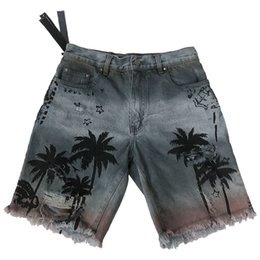 Chinese  Mens Brand Summer Fashion Coconut Tree Jeans Hawaii Beach Hole Straight Jeans Loose Knee Length Male Pants manufacturers