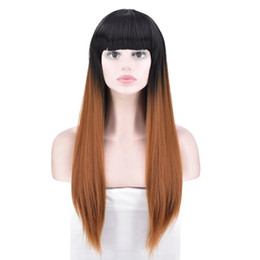 Straight Bang Ombre Australia - Long Straight Wig Ombre Wig Black To Brown Synthetic Wig with Straight Bangs