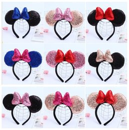 christmas sequins Australia - 9 Color Girls hair accessories Mouse ears Sequins headband Children hair band Cotton-filled Hair stick For kids Halloween Christmas cosplay