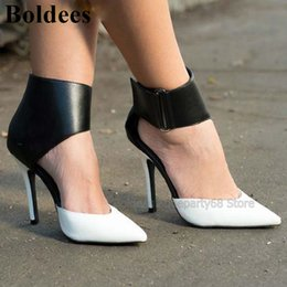 $enCountryForm.capitalKeyWord NZ - Black Mixed Color White Patchwork Leather Women Thin High Heels Ankle Boots Pointy Toe Hollow Out Short Boots Women Pumps